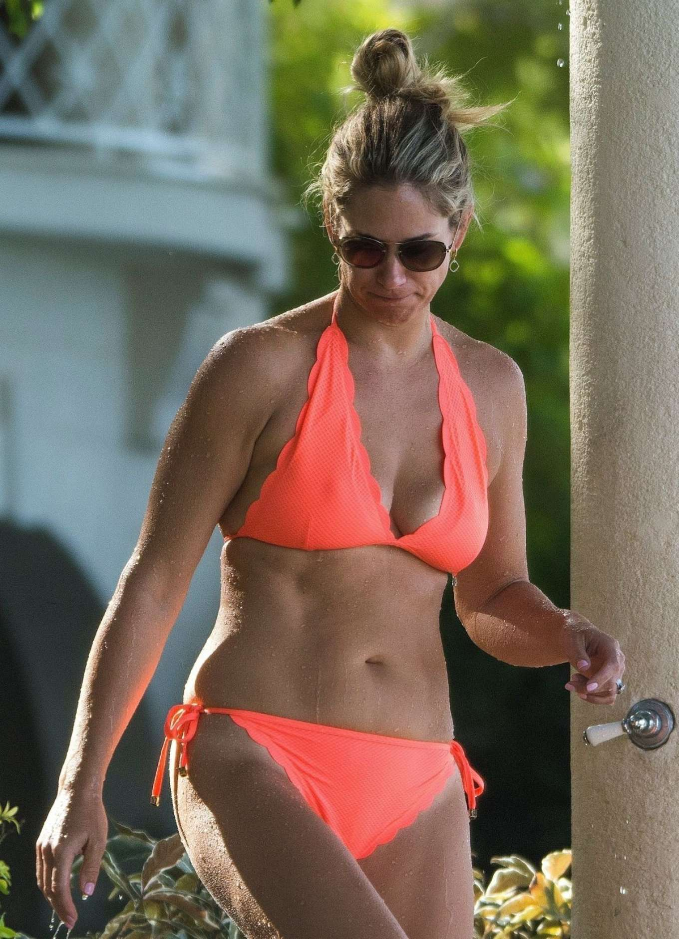 Chanelle Mccoy in Orange Bikini in Barbados