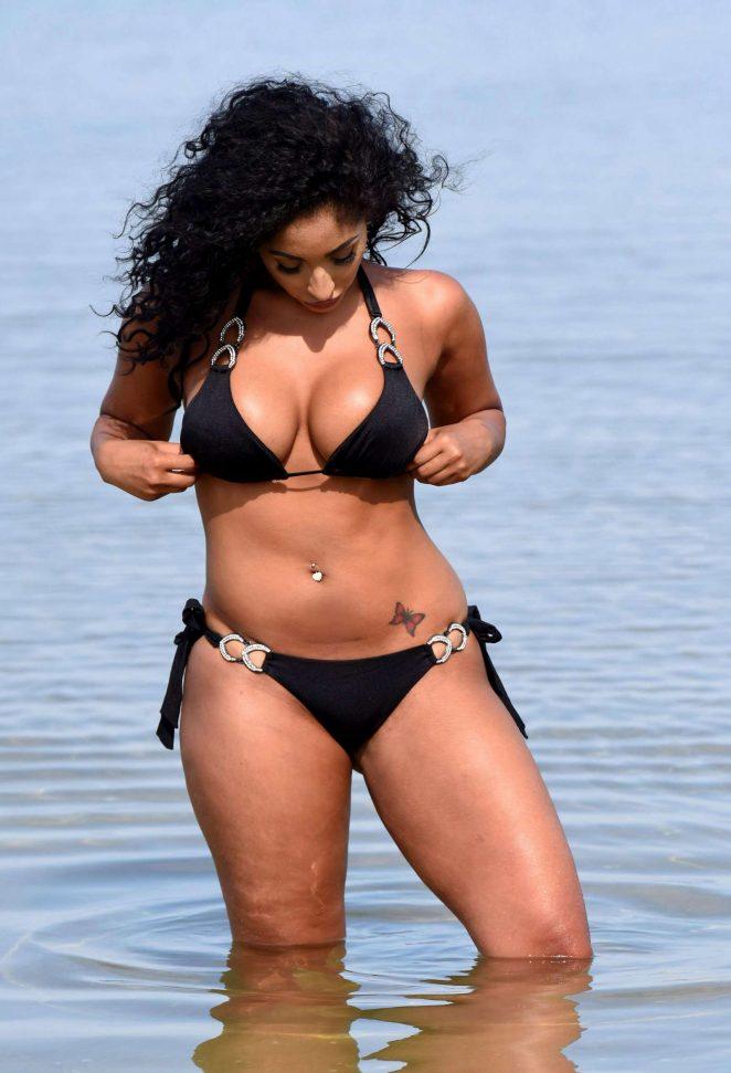 Chanelle Sadie Paul in Black Bikini on the beach in Murcia