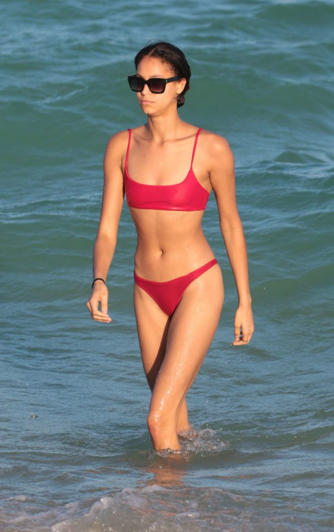 Chantal Monaghan in Red Bikini at the beach in Miami