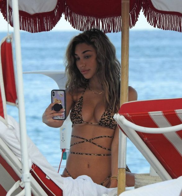 Chantel Jeffries in Animal Print Bikini in Miami Beach