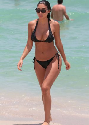 Chantel Jeffries in Black Bikini on Miami Beach