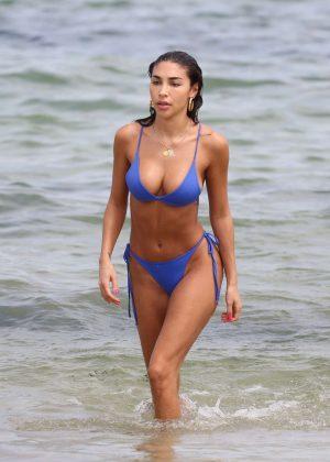 Chantel Jeffries in Blue Bikini at the beach in Miami