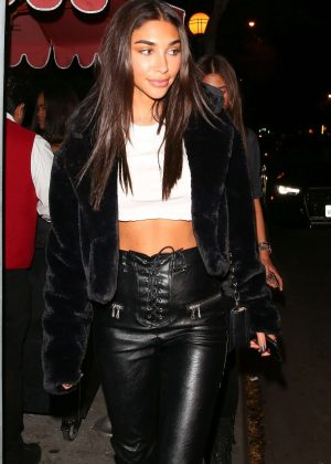 Chantel Jeffries in Leather at Delilah in West Hollywood
