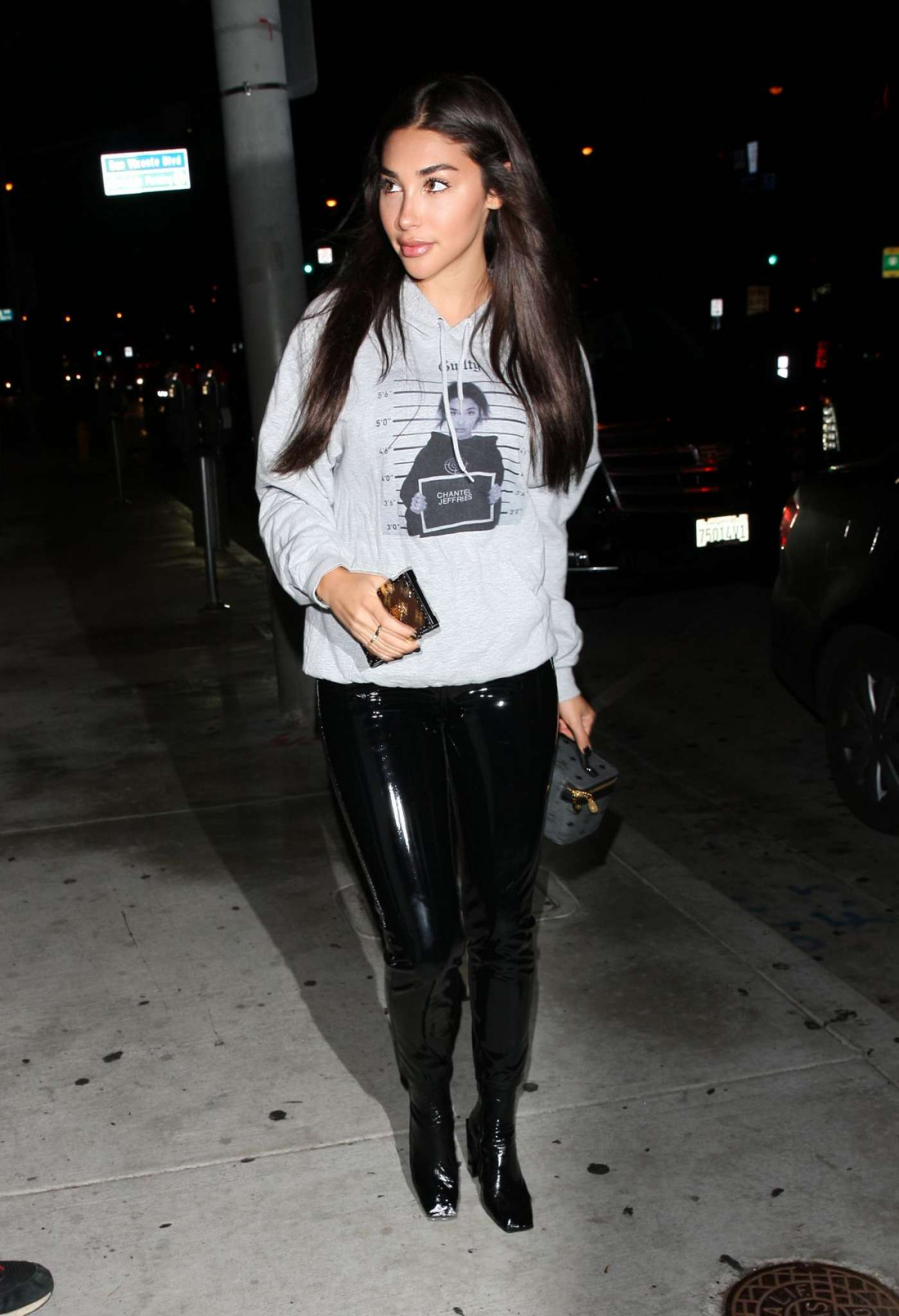 Chantel Jeffries in Leather Out for dinner in West Hollywood
