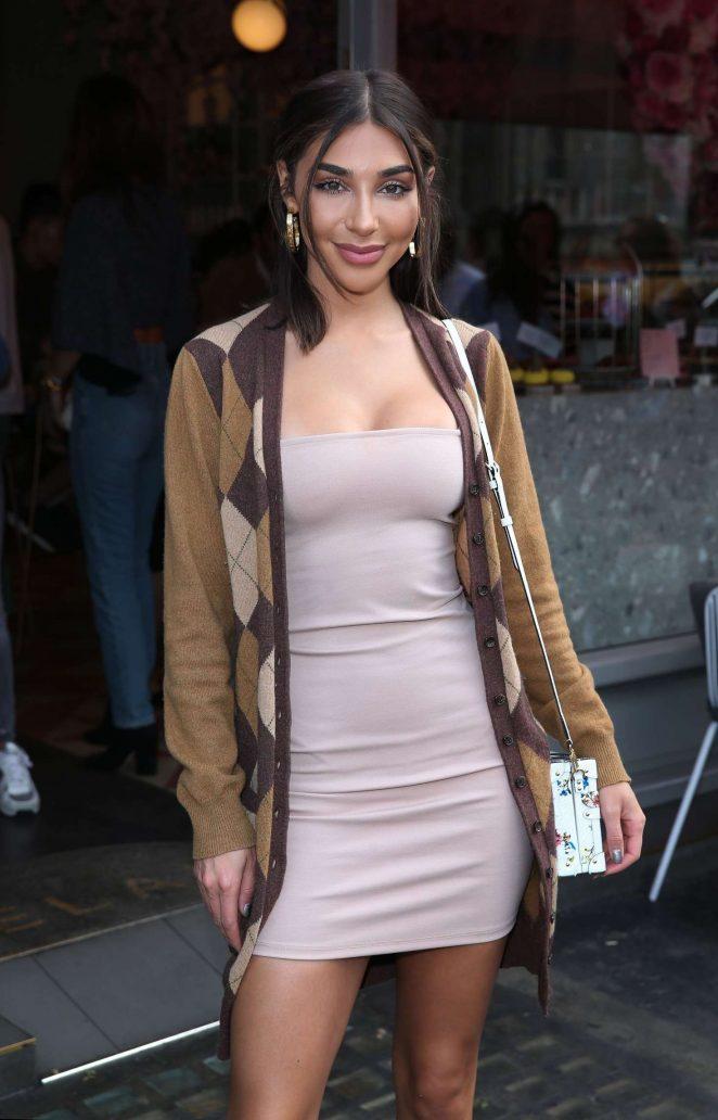 Chantel Jeffries in Mini Tight Dress out in London