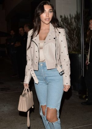 Chantel Jeffries in Ripped Jeans Out at Catch in West Hollywood