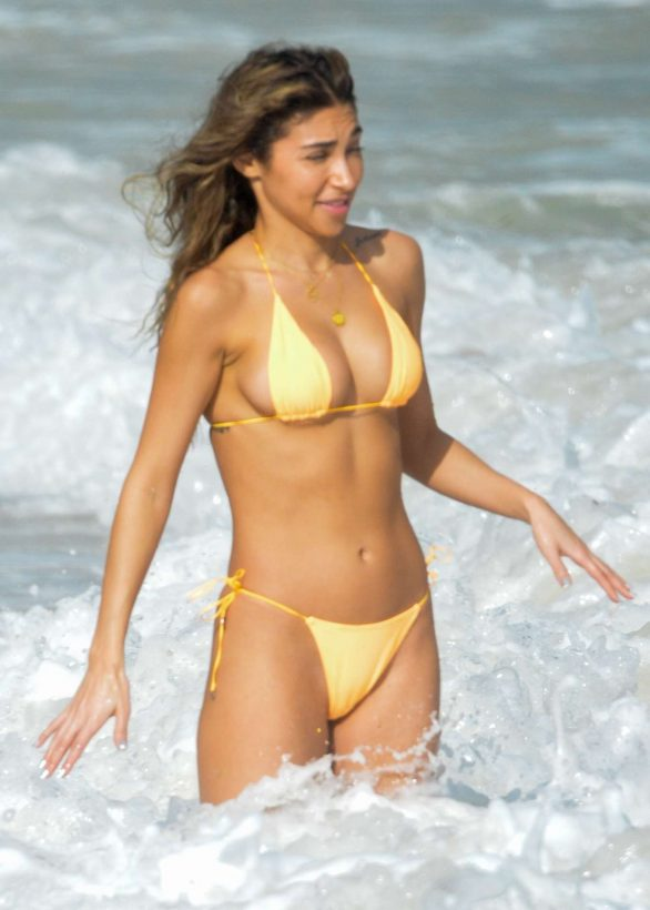 Chantel Jeffries in Yellow Bikini on the beach in Tulum