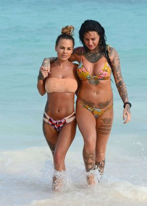 Chantelle Connelly and Jemma Lucy in Bikini at a Beach in Caribbean