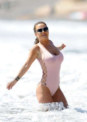 Chantelle Connelly in Pink Swimsuit in Tenerife
