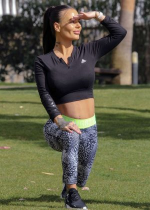 Chantelle Connelly in Tights - Working in Marbella