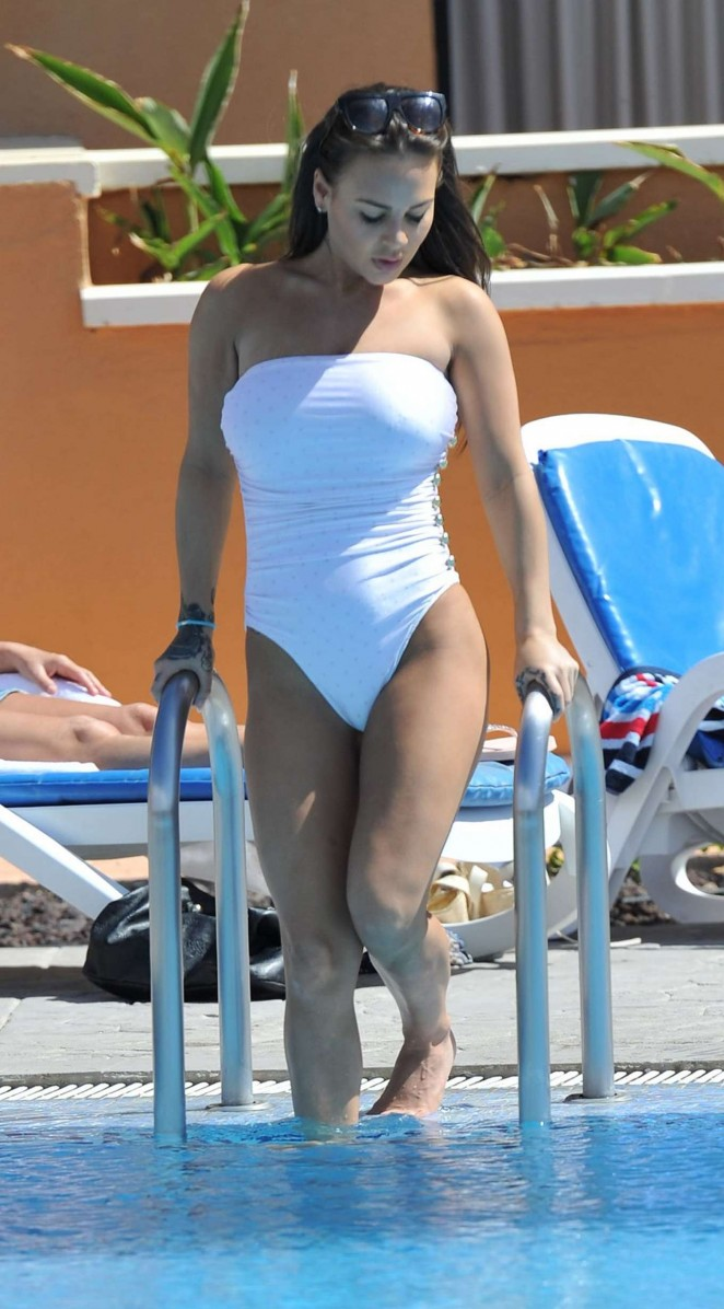 Chantelle Connelly in White Swimsuit in Tenerife