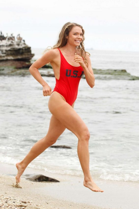 Chari Hawkins in Red Swimsuit on the beach in California