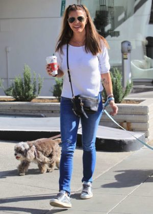 Charisma Carpenter - Grabs coffee with her dogs in Beverly Hills