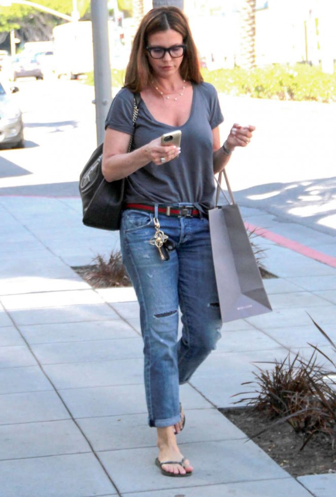 Charisma Carpenter in Jeans Shopping in Beverly Hills