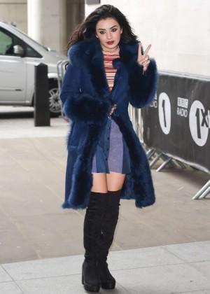 Charli XCX in Mini Skirt at BBC Radio 1 studios in London