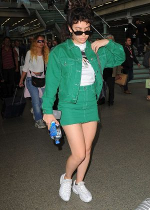 Charli XCX in Green - Arriving at the Kings Cross St Pancras Station in London
