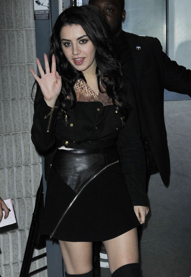 Charli XCX in Black Mini Dress Out in Paris