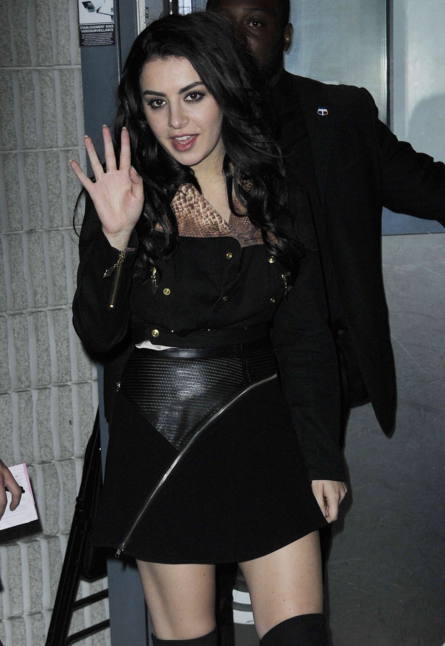 Charli xcx in black mini dress out in paris for Lindsay aitchison