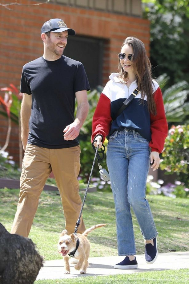Charlie McDowell with Lily Collins - Taking their dog for a walk in Beverly Hills