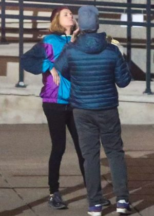Charlize Theron and Seth Rogen on the set of their new movie in Montreal