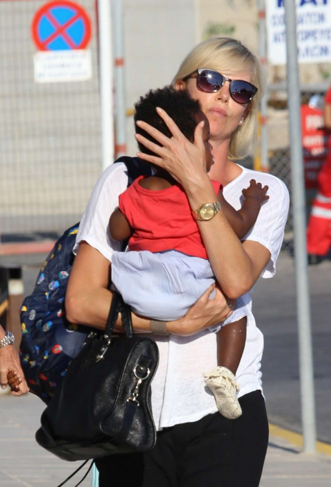 Charlize Theron Arrives at Heraklion International Airport in Crete Greece