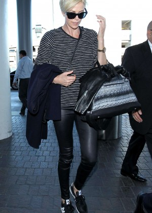 Charlize Theron in Leather at LAX Airport in Los Angeles