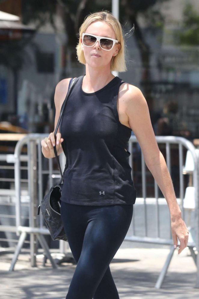 Charlize Theron at a nail salon in Hollywood