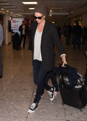 Charlize Theron at Heathrow Airport in London