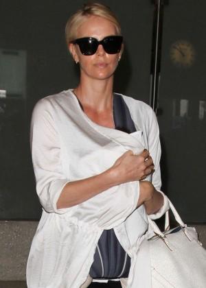 Charlize Theron at Los Angeles International Airport