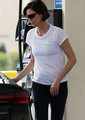 Charlize Theron at the gas station in LA