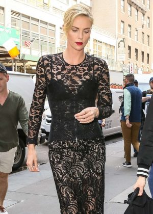 Charlize Theron in Black Long Dress - Arrives at her hotel in New York