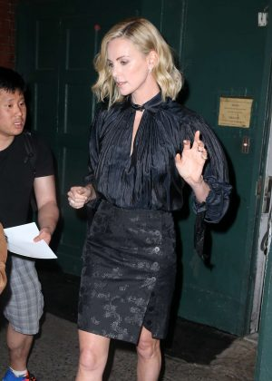 Charlize Theron in Black - Out in New York