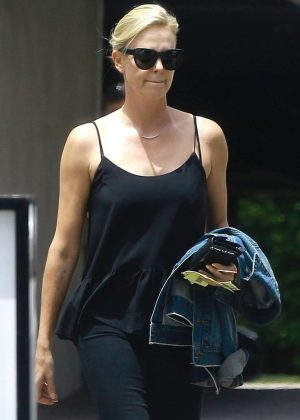 Charlize Theron in Black Outfit out in Beverly Hills
