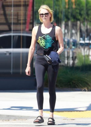 Charlize Theron in Black Tights - Out in Los Angeles