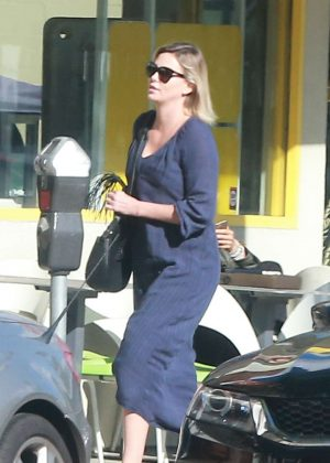 Charlize Theron in Blue Long Dress out in Studio City