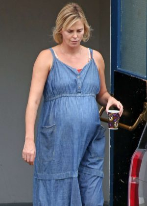 Charlize Theron in Jeans Dress on set of 'Tully' in Vancouver