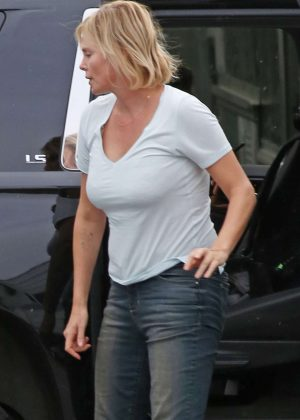 Charlize Theron in Jeans out in Vancouver
