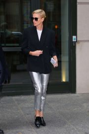 Charlize Theron in Metalic Pants - Out in New York