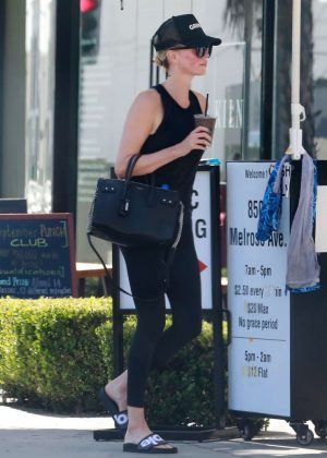Charlize Theron in Tights - Heads at SoulCycle in West Hollywood