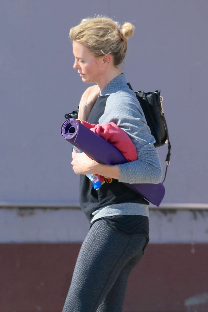 Charlize Theron in Tights Leaving yoga class