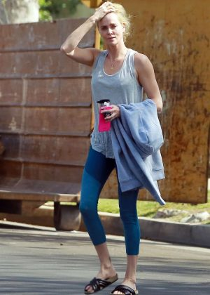 Charlize Theron in Tights out in Los Angeles