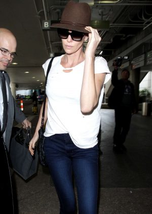 Charlize Theron - Leaves LAX airport in Los Angeles