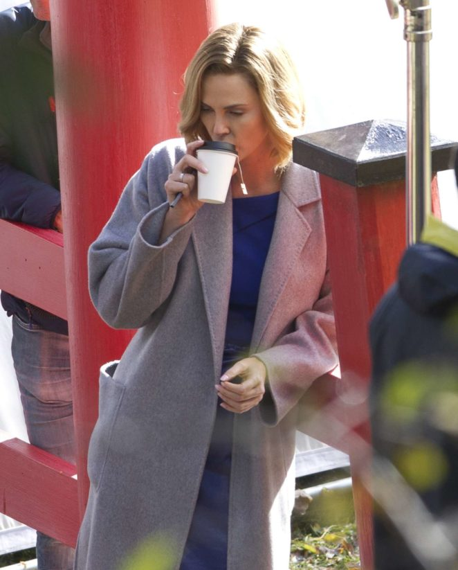 Charlize Theron on the set of 'Flarsky' in Montreal