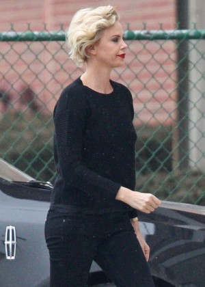 Charlize Theron on the set of 'The Nash Edgerton Project' in Chicago