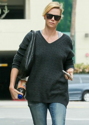 Charlize Theron in jeans out in Culver City