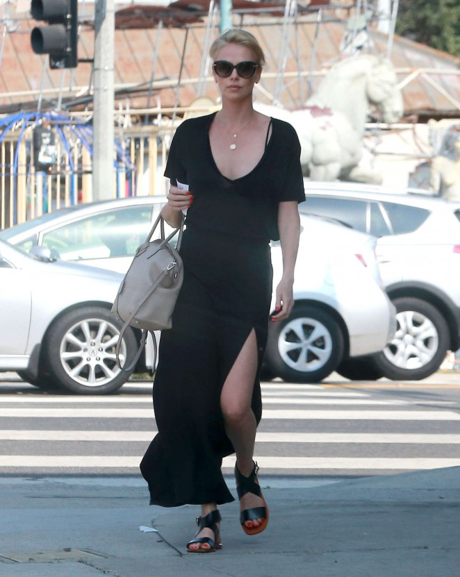 Charlize Theron in Black Dress out in LA
