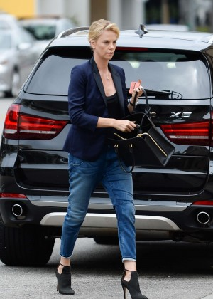 Charlize Theron in Jeans Outside Bouchon Restaurant