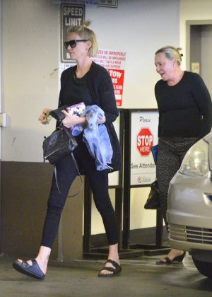 Charlize Theron with family out in Los Angeles
