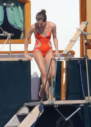 Charlotte Casiraghi in Swimsuit on a boat 'Le Pacha III' in St. Tropez
