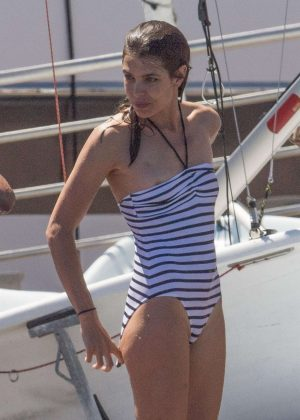 Charlotte Casiraghi in Swimsuit on a yacht in Monaco